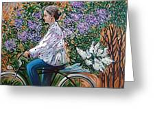 Riding Bycicle For Lilac Greeting Card