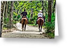 Riding In The Woods Greeting Card