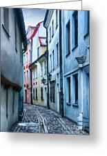 Riga Narrow Street Painting Greeting Card