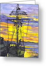 Rigging In The Sunset Greeting Card