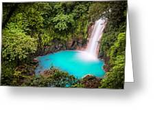 Rio Celeste Waterfall Greeting Card by Andres Leon