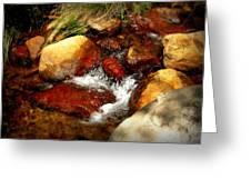 Rio En Medio Boulder Falls Greeting Card