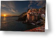 Riomaggiore Peaceful Sunset Greeting Card by Mike Reid