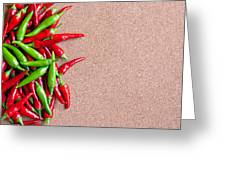 Ripe Red And Green Chillies On Cork Board Greeting Card
