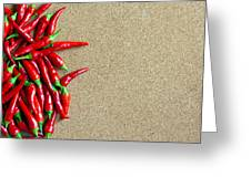 Ripe Red Chillies On Cork Board Greeting Card