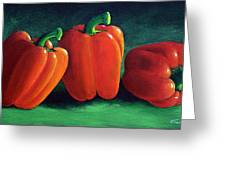 Ripe Red Peppers Greeting Card