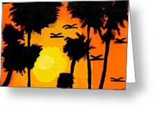 Rising Glow At Sunset Greeting Card