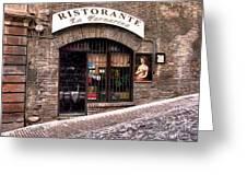 Ristorante La Fornaina. Urbino Greeting Card