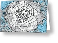 Ritzy Rose With Ink And Blue Background Greeting Card