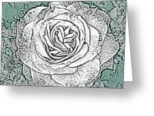 Ritzy Rose With Ink And Green Background Greeting Card