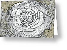 Ritzy Rose With Ink And Taupe Background Greeting Card