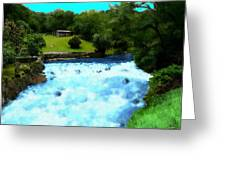 River And Waterfall In France Greeting Card