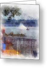 River Boat Speed Racing Vertical Photo Art Greeting Card