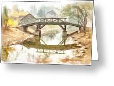 River Bridge Landscape Greeting Card