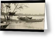 River Fishing Boats In Hoi An Greeting Card