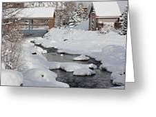 River Flowing Under A Bridge Greeting Card