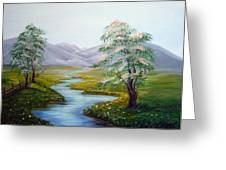 River In A Fields Greeting Card
