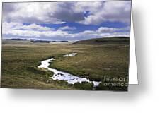 River In A Landscape Greeting Card by Bernard Jaubert