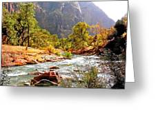 River In Zion National Park Greeting Card