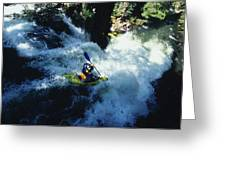 River Kayaking Over Waterfall, Crested Greeting Card