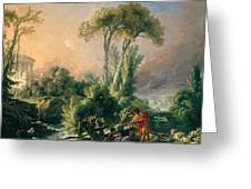 River Landscape With An Antique Temple Greeting Card