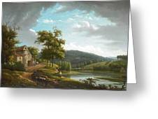 River Landscape With Farmhouse Greeting Card