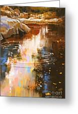 River Lines With Stones In Autumn Greeting Card