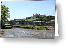 River Main With Fortress - Wuerzburg Greeting Card