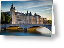 River Seine With Conciergerie Greeting Card
