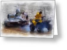 River Speed Boat White Photo Art Greeting Card