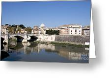 River Tiber With The Vatican. Rome Greeting Card