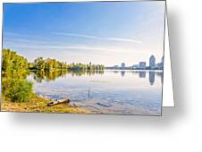 River Trees And City Skyline Greeting Card