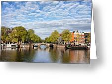 River View Of Amsterdam In The Netherlands Greeting Card