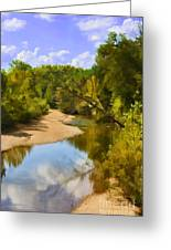 River View With Reflections - Digital Paint Greeting Card