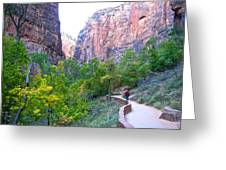 River Walk In Zion Canyon In Zion Np-ut Greeting Card