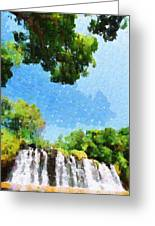 River Waterfall Painting Greeting Card