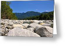 River With Mountain Greeting Card