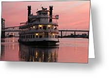Riverboat At Sunset Greeting Card