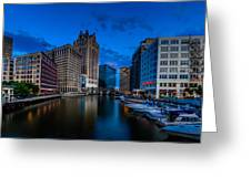 Riverside Blue Hour Greeting Card