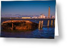 Riverside Wreck Greeting Card by Dawn OConnor