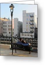 Riverwalk Couple On Bench Greeting Card