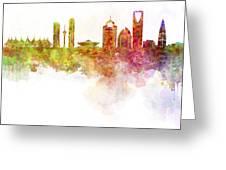 Riyadh Skyline In Watercolour On White Background Greeting Card
