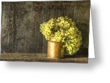 Rmonet Style Digital Painting Etro Style Still Life Of Dried Flowers In Vase Against Worn Woo Greeting Card