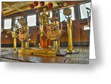 Rms Queen Mary Bridge Well-polished Brass Annunciator Controls And Steering Wheels Greeting Card