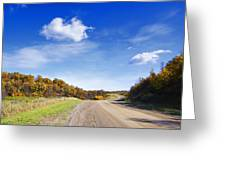 Road Approaching Hill Greeting Card