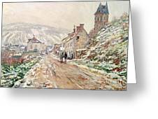 Road In Vetheuil In Winter Greeting Card