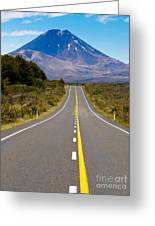 Road Leading To Active Volcanoe Mt Ngauruhoe In Nz Greeting Card