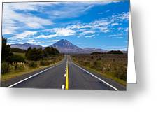 Road Leading To Active Volcanoe Mt Ngauruhoe Nz Greeting Card