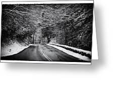 Road Through Dark Snowy Forest E93 Greeting Card