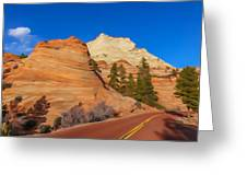 Road Through Zion Np Greeting Card